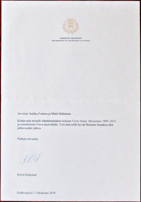 Kiitoskirje Tasavallan Presidentiltä